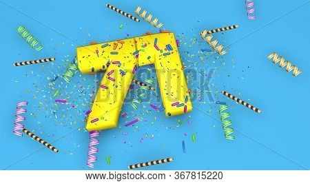 Number 71 For Birthday, Anniversary Or Promotion, In Thick Yellow Letters On A Blue Background Decor