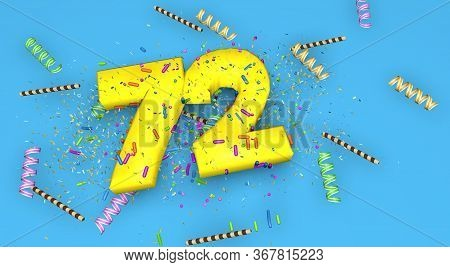 Number 72 For Birthday, Anniversary Or Promotion, In Thick Yellow Letters On A Blue Background Decor