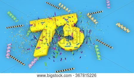 Number 73 For Birthday, Anniversary Or Promotion, In Thick Yellow Letters On A Blue Background Decor