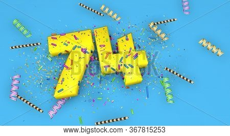 Number 74 For Birthday, Anniversary Or Promotion, In Thick Yellow Letters On A Blue Background Decor
