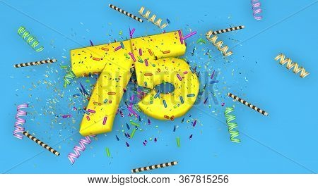Number 75 For Birthday, Anniversary Or Promotion, In Thick Yellow Letters On A Blue Background Decor