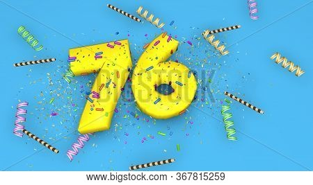 Number 76 For Birthday, Anniversary Or Promotion, In Thick Yellow Letters On A Blue Background Decor