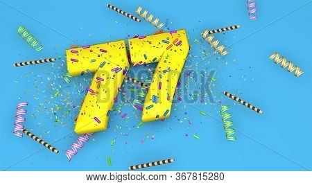 Number 77 For Birthday, Anniversary Or Promotion, In Thick Yellow Letters On A Blue Background Decor