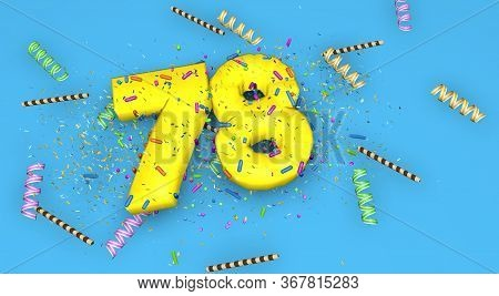 Number 78 For Birthday, Anniversary Or Promotion, In Thick Yellow Letters On A Blue Background Decor