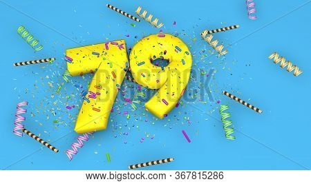 Number 79 For Birthday, Anniversary Or Promotion, In Thick Yellow Letters On A Blue Background Decor