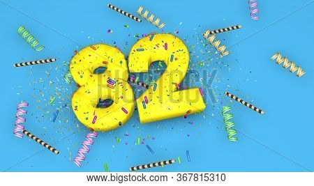 Number 82 For Birthday, Anniversary Or Promotion, In Thick Yellow Letters On A Blue Background Decor
