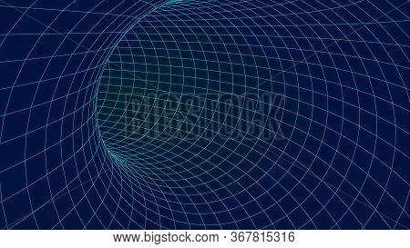 Blue Wireframe Vector Tunnel. 3d Wormhole Dark Illustration.