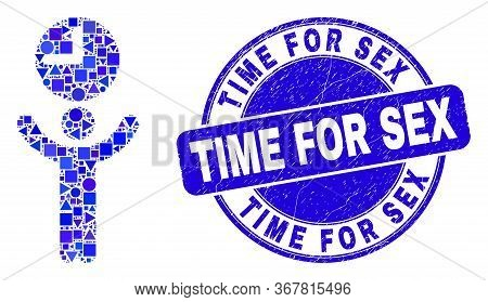 Geometric Time Manager Mosaic Icon And Time For Sex Seal. Blue Vector Round Scratched Seal With Time