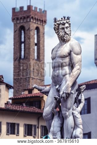 Statue Of Neptune On Piazza Della Signoria In Florence, Italy. Detail Of Renaissance Fountain In Flo