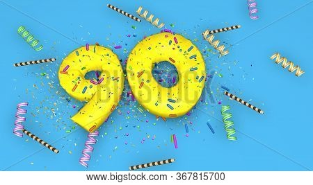 Number 90 For Birthday, Anniversary Or Promotion, In Thick Yellow Letters On A Blue Background Decor