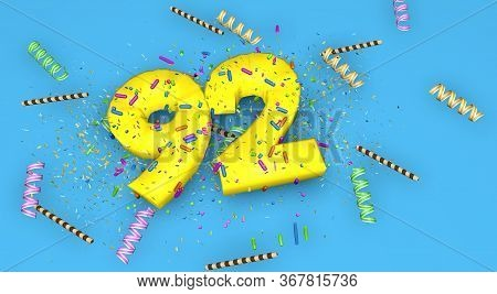 Number 92 For Birthday, Anniversary Or Promotion, In Thick Yellow Letters On A Blue Background Decor