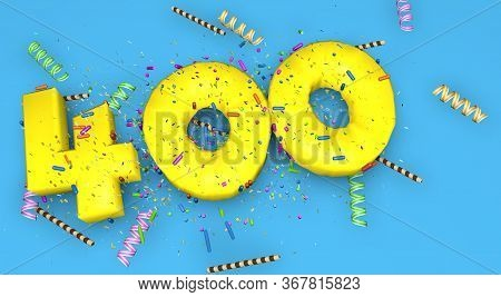 Number 400 For Birthday, Anniversary Or Promotion, In Thick Yellow Letters On A Blue Background Deco