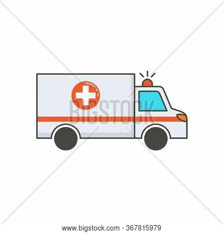 Ambulance. Vector Illustration Ambulance Car On White Background. Ambulance Auto Paramedic Emergency