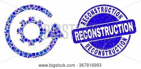 Geometric Gear Rotation Mosaic Icon And Reconstruction Seal Stamp. Blue Vector Rounded Scratched Sta