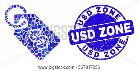 Geometric Price Tag Mosaic Pictogram And Usd Zone Seal Stamp. Blue Vector Round Grunge Stamp With Us