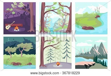 Summer Nature Background Set. Night Bonfire On Forest Glade, River Flow, Thunderstorm And Stormy Wea