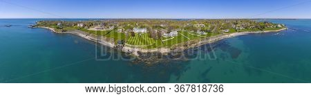 Historic Rosecliff aerial view panorama at Newport, Rhode Island RI, USA. Rosecliff is a Gilded Age mansion with Baroque Revival style built in 1892 in Bellevue Avenue Historic District in Newport.