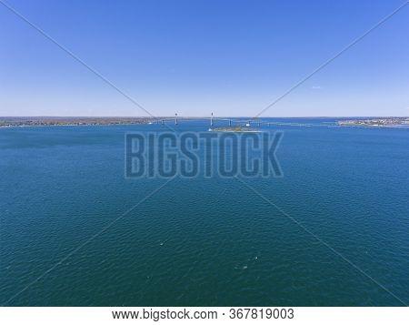 Claiborne Pell Newport Bridge on Narragansett Bay aerial view in summer, from city of Newport, Rhode Island RI, USA.