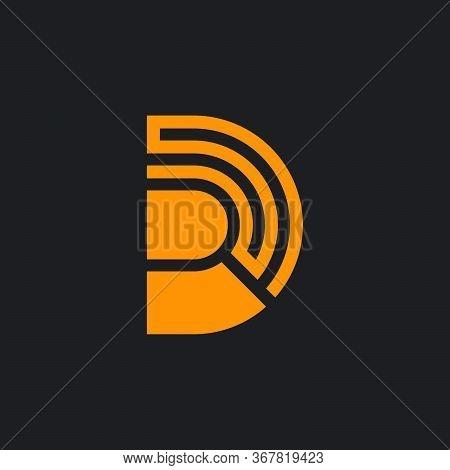 Letter Rd Stripes Geometric Lines Symbol Logo Vector