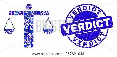 Geometric Judge Mosaic Pictogram And Verdict Seal Stamp. Blue Vector Rounded Grunge Seal Stamp With