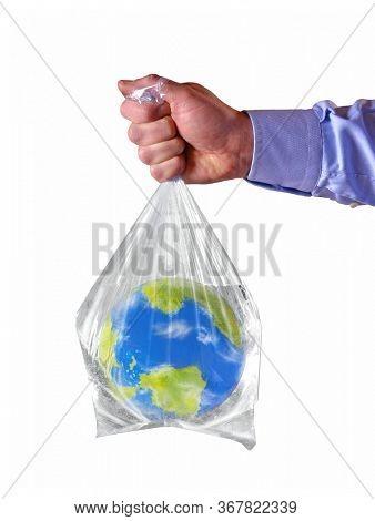 Planet earth sphere on full water plastic bag on flood concept