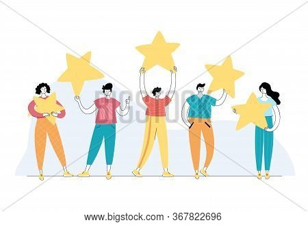 Vector Isolated Illustration Of Rating Feedback And Customer Review Concept. People Standing And Hol