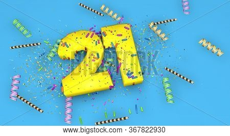 Number 21 For Birthday, Anniversary Or Promotion, In Thick Yellow Letters On A Blue Background Decor
