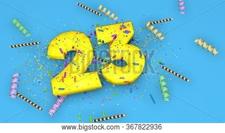 Number 23 For Birthday, Anniversary Or Promotion, In Thick Yellow Letters On A Blue Background Decor