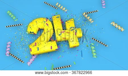 Number 24 For Birthday, Anniversary Or Promotion, In Thick Yellow Letters On A Blue Background Decor