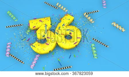 Number 36 For Birthday, Anniversary Or Promotion, In Thick Yellow Letters On A Blue Background Decor