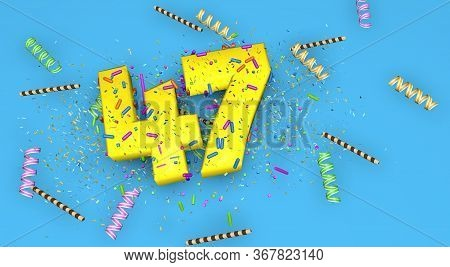 Number 47 For Birthday, Anniversary Or Promotion, In Thick Yellow Letters On A Blue Background Decor