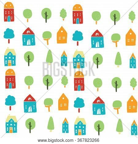 Seamless Primary Colors Childish Neighboor Town With Trees And Primary Colors Like Orange, Blue, Gre
