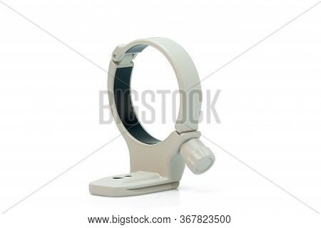 Aluminum Tripod Collar Mount Lens Ring Isolated On White Background. The File Includes A Clipping Pa