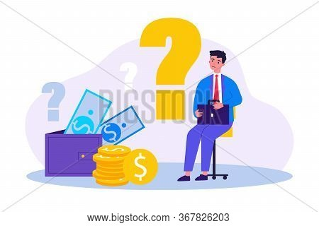 Sad Man Concerned About Financial Problem, Money Need And Unpaid Loan Debts. Male Character, Questio