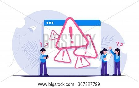 System Error Concept. People Stand Near The Open Browser Tab With An Error. Modern Flat Vector Illus