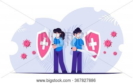 People With Shields In Their Hands Are Protected From The Attack Of The Virus. Fighting The Pandemic