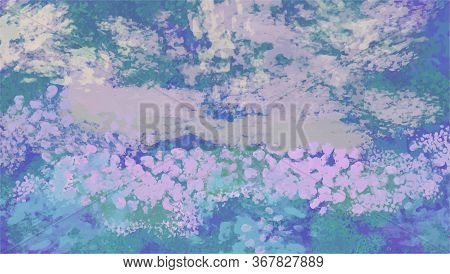 Hand Painted Canvas. Abstract Background In Impressionism Style. Vector Illustration