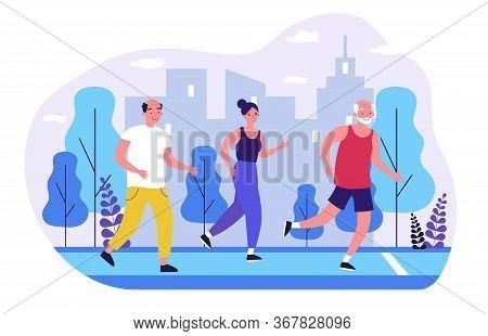 Senior People Jogging In City Park. Old Men And Women Running Marathon Flat Vector Illustration. Lif
