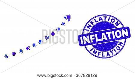 Geometric Dotted Up Trend Arrow Mosaic Icon And Inflation Seal Stamp. Blue Vector Rounded Textured S