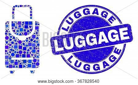 Geometric Voyage Luggage Mosaic Icon And Luggage Seal Stamp. Blue Vector Rounded Grunge Seal Stamp W