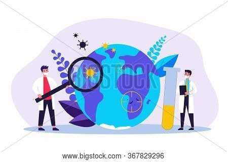 Tiny Doctors Studying Viruses Flat Vector Illustration. Physicians Looking For Vaccine From Coronavi