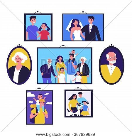 Pictures Of Happy Family In Frames On Wall. Just Married Couple, Parents, Children, Senior People Fr