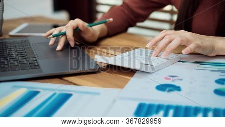 Bookkeeper Or Financial Inspector Hands Making Report, Calculating Or Checking Balance.