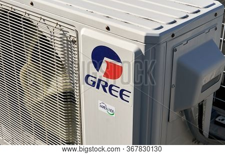 Montreal, Canada - May 24, 2020: Gree Logo On Mini Split Air Conditioner. Gree Electric Is A Partial