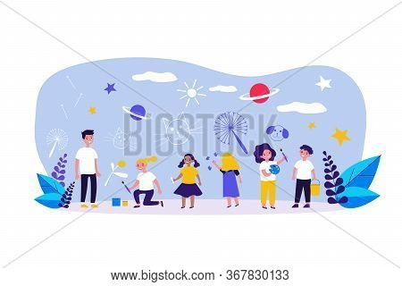 Multiethnic Group Of Children Drawing With Crayons, Paintbrushes, Paints. Happy Kids Painting On Wal