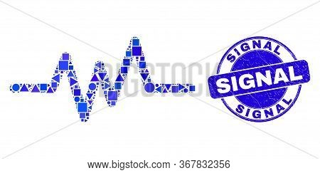 Geometric Pulse Signal Mosaic Icon And Signal Seal Stamp. Blue Vector Rounded Textured Stamp With Si