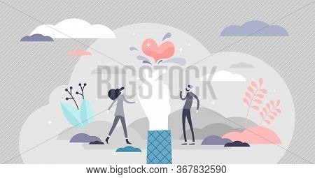 Love Snap Vector Illustration. Magic Heart Passion Moment Flat Tiny Persons Concept. Romantic Affect