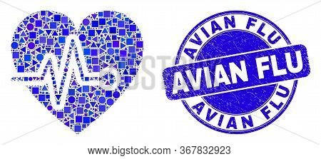 Geometric Heart Pulse Mosaic Icon And Avian Flu Seal. Blue Vector Rounded Distress Seal Stamp With A