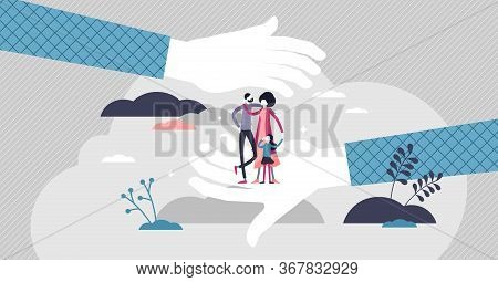 Safe Family Vector Illustration. Symbolic Protection Flat Tiny Persons Concept. Couple With Children