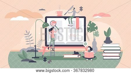 Self Help Books Vector Illustration. Support Literature Flat Tiny Persons Concept. Life Improvement
